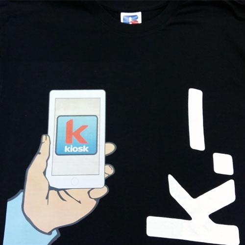 bedruckte T-Shirts für kkiosk schweiz in zürich adliswil, wir drucken t-shirts mit Ihr Logo.