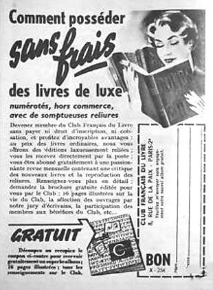 Publicité pour le Club français du livre années 50
