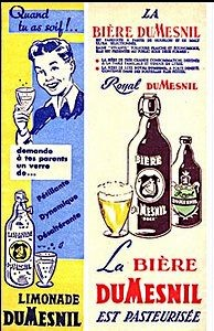 Affiche publicitaire pour la limonade et la bière Dumesnil