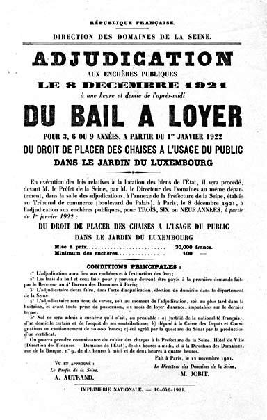Bail à loyer adjudication de 1921 au jardin du Luxembourg