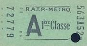 Ticket de métro de première classe poinçonné