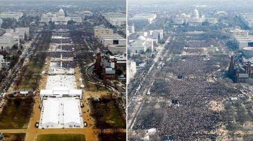 Juxtaposition, photos investitures Obama Trump