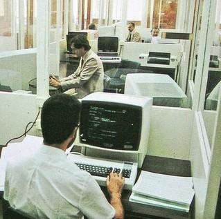 Développeurs mettant au point des programmes sur IBM 3270 en 1979
