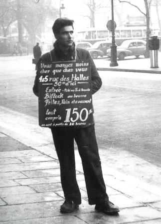 Années 50 Homme- sandwich rémunéré