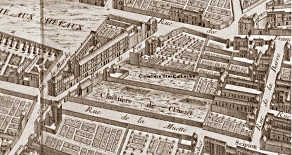 Elle donnera  sur la rue du fer à moulin dénommée rue de la muette et, plus explicitement encore, rue des morts puisque longeant deux cimetières. La rue du marché (aux chevaux.) est aujourd'hui la rue Geoffroy Saint-Hilaire.