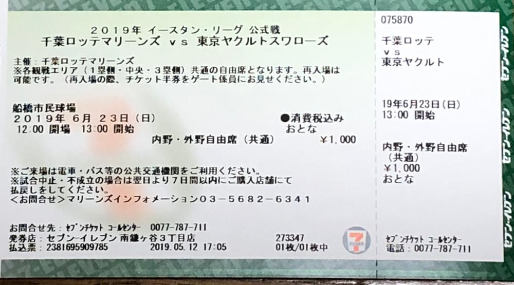 古谷拓郎投手登板を期待して購入した前売りチケット