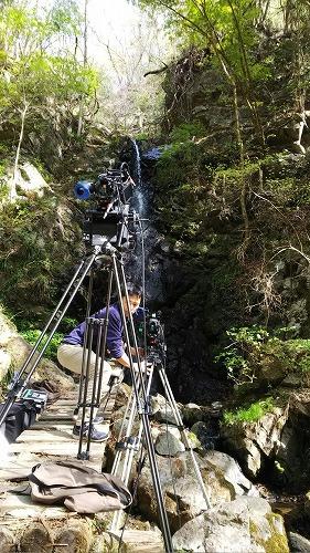 龍神の滝でのCM撮影です