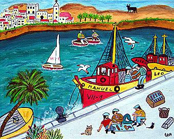 Am Hafen, 30 x 24 cm, Acryl auf Leinwand
