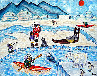 Eskimodorf, 30 x 25 cm, Acryl auf Leinwand