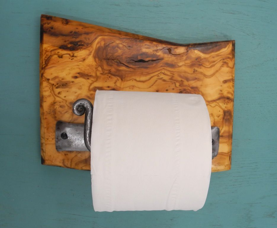 Toilettenpapierhalter Olivenholz_Halterung Schmiedeeisen Vintage Stil
