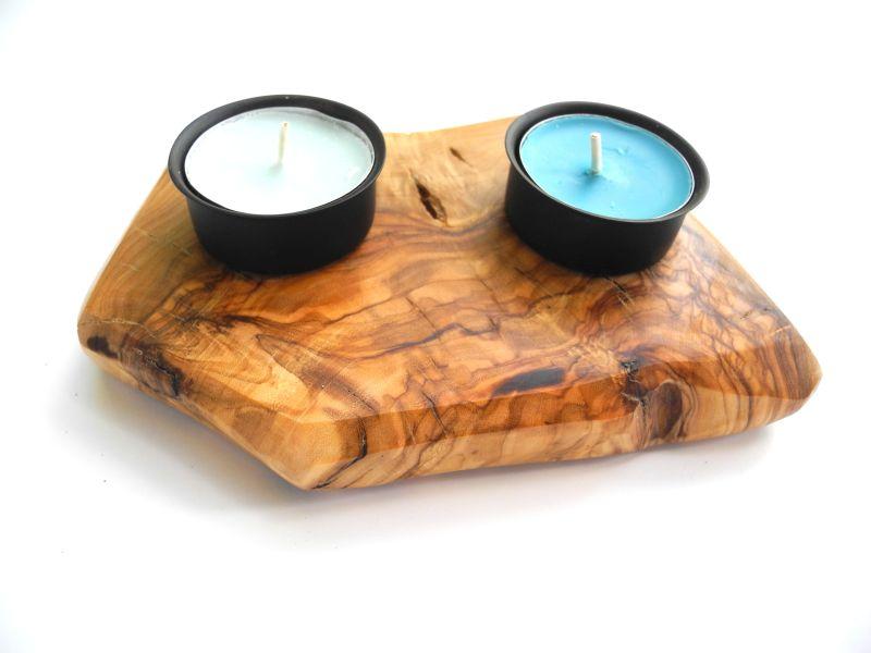 Teelichthalter Olivenholz-Kerzenhalter Holz-Giordanos Olivenholz