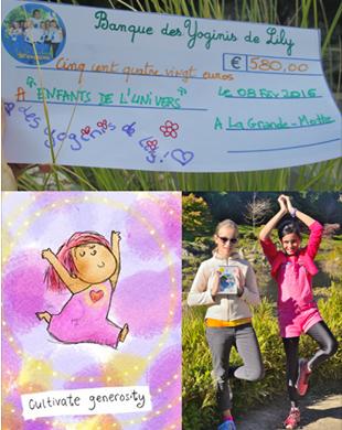 """Février 2016-10ème chèque de 580 euros pour """"Enfants de l'univers"""""""