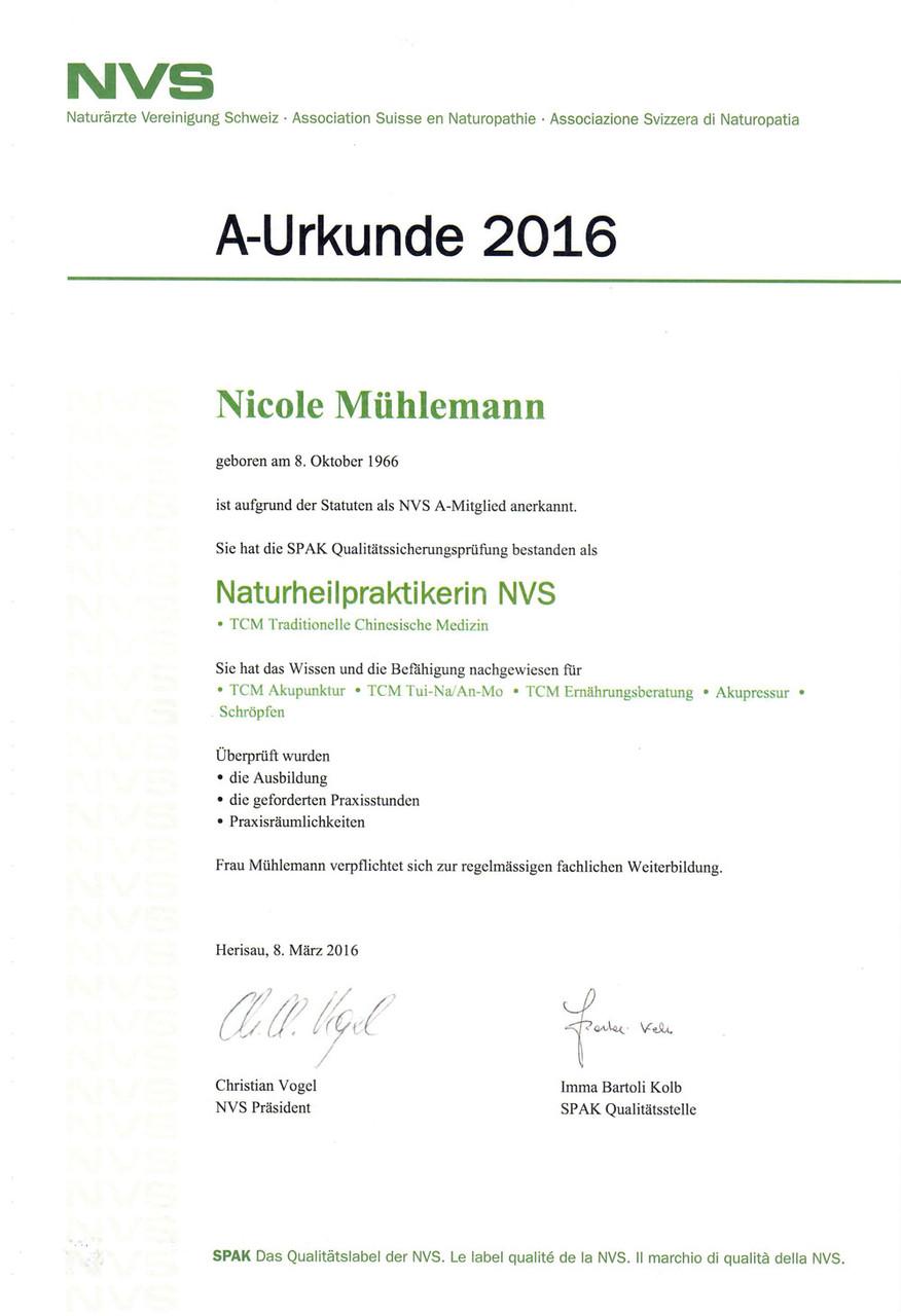 NVS, Naturärztevereinigung Schweiz Mitgliedsurkunde