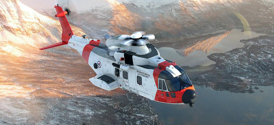 Rendering di un AW-101 NAWSARH nella livrea norvegiese ultima acquirente dell'elicottero. (Foto: Agusta Westland)