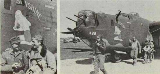 """Un Liberator utilizzato dal KG200, si nota ancora la classica """"Nose Art"""" americana sul muso del Bombardiere."""