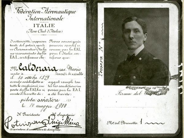 iIl brevetto di volo di Mario Calderara.