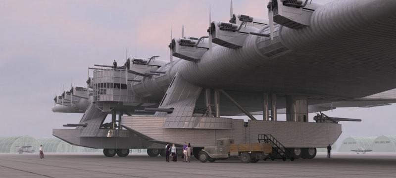 vista dell'aeroplano da sinistra si notano i cannoni e la robustezza delle strutture