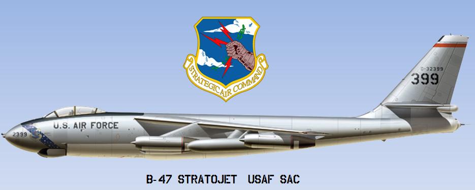 """Un emblema di quel periodo il B-47 """"Stratojet"""" del SAC (Strategic Air Command)."""