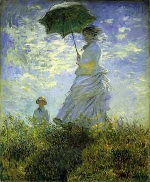 『散歩、日傘をさす女性』