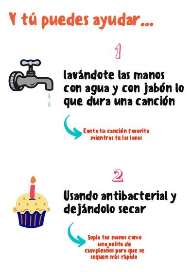 Und du kannst helfen: Wasche deine Hände mit Wasser und Seife so lange, wie es dauert, ein Lied zu singen! Und benutze Desinfektionsmittel!