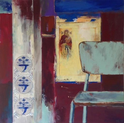Bulgaarse stoel, 2016, acryl op doek, 80X80, prijs op aanvraag