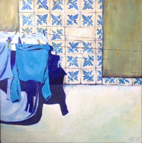 Blauw truitje in Porto, 2015, acryl op doek, 50X50, prijs op aanvraag