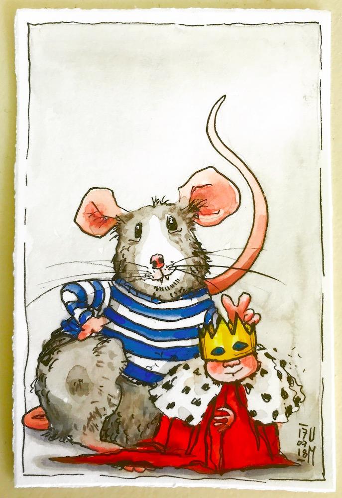 Zeichnung mit kleinem König und Ratte.