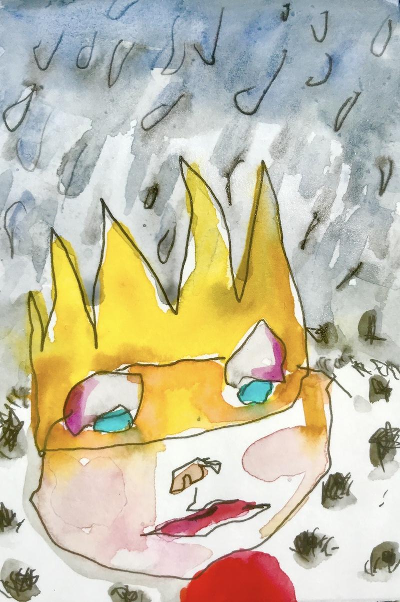 Gezeichneter Kopf mit einer Krone.