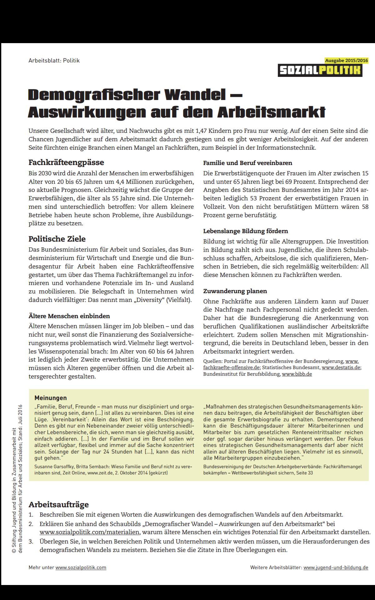 Demografischer Wandel am Arbeitsmarkt - Lehr/Lernseite Hr. Spenner ...