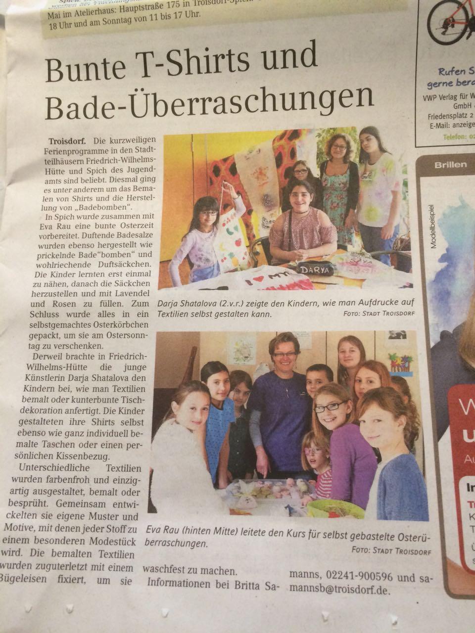 Zeitung - Workshop Jugendtreff Troisdorf-Spich 10.-13.04.2017