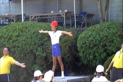 長女の準備運動模範演技