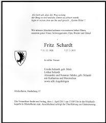 Todesanzeige Fritz Schardt, geboren in Mühle Mahnsfeld