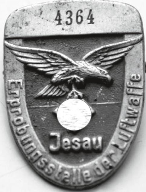 Marke: Jesau Erprobungsstelle der Luftwaffe mit Reichsadler und Nr. 4364