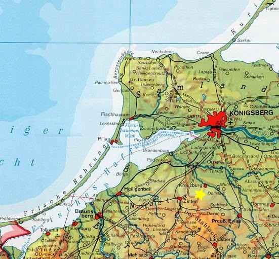 Stern = Die Lage des Dorfes Schnakeinen im Kreis Pr. Eylau, zu Königsberg und zum Frischen Haff