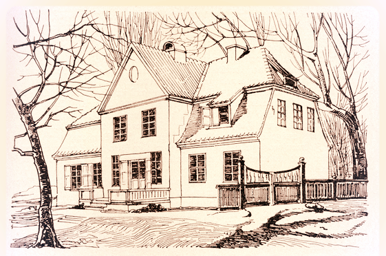 Das Pfarrhaus. Wenn wohl auch nicht in genau diesem Gebäude, so soll an dieser Stelle das Geburtshaus des Ännchen von Tharau gestanden haben.