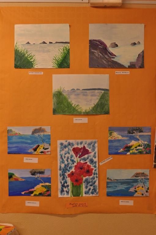 paysages à l'acrylique et fleur à la gouache