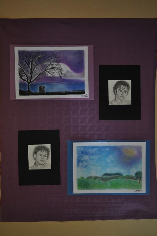 pastels secs paysage, portrait aux crayons HB Ambre et Perrine