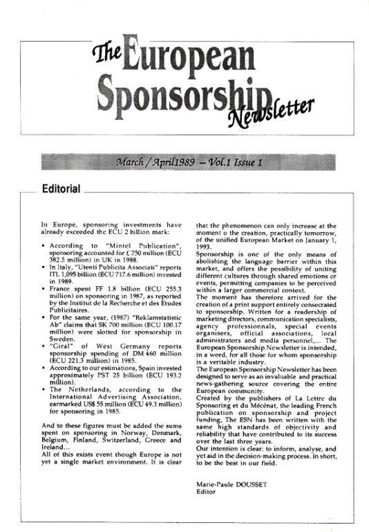 The European Sponsorship Newsletter