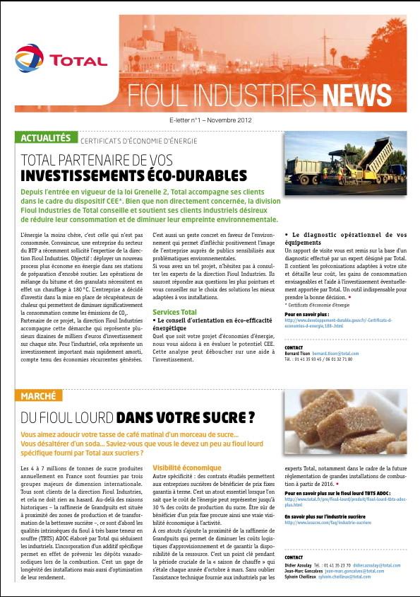 Total Fioul Industries | e-letter clientèle