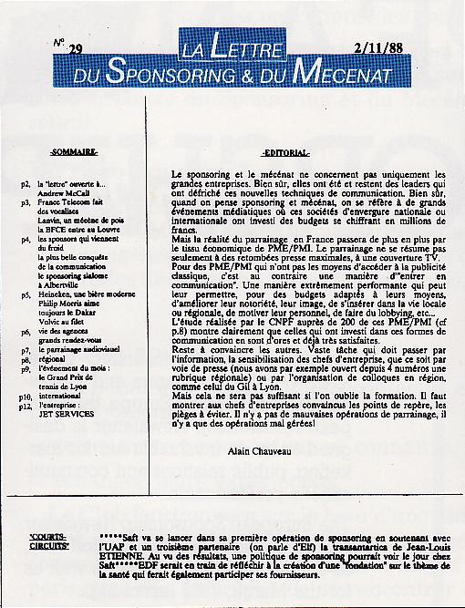 La lettre du sponsoring et du mécénat
