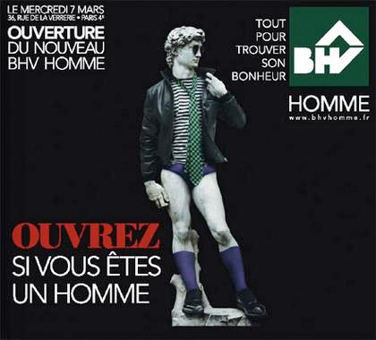 campagne de publicité / ouverture BHV Homme