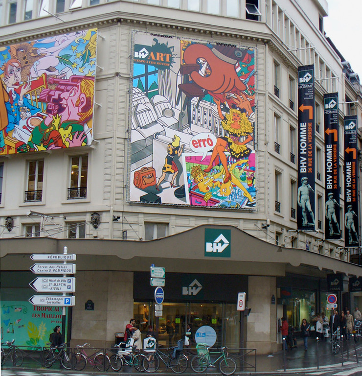 Mécénat: affiche d'Erro en façade du magazin Rivoli (2007)