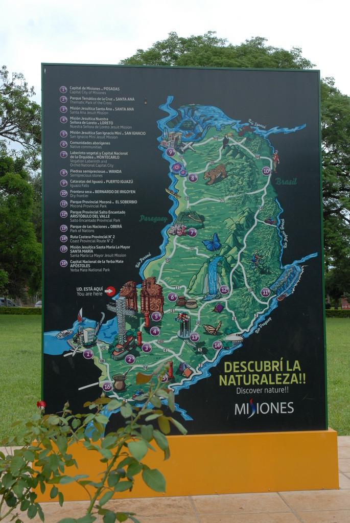 Übersichtsplan der Jesuitenmissionen in der Provinz Misiones