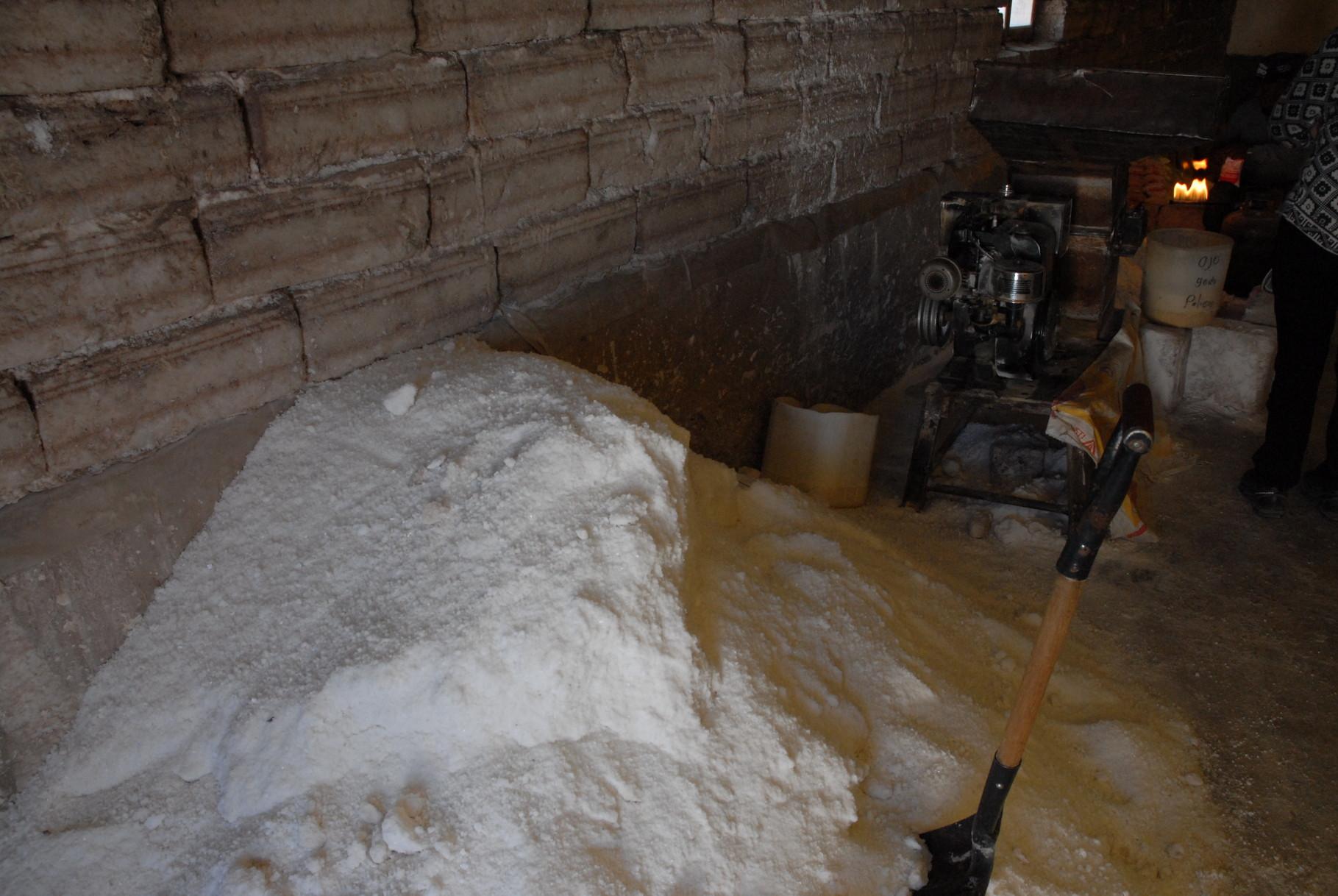 Getrocknetes Salz fertig zum Abpacken