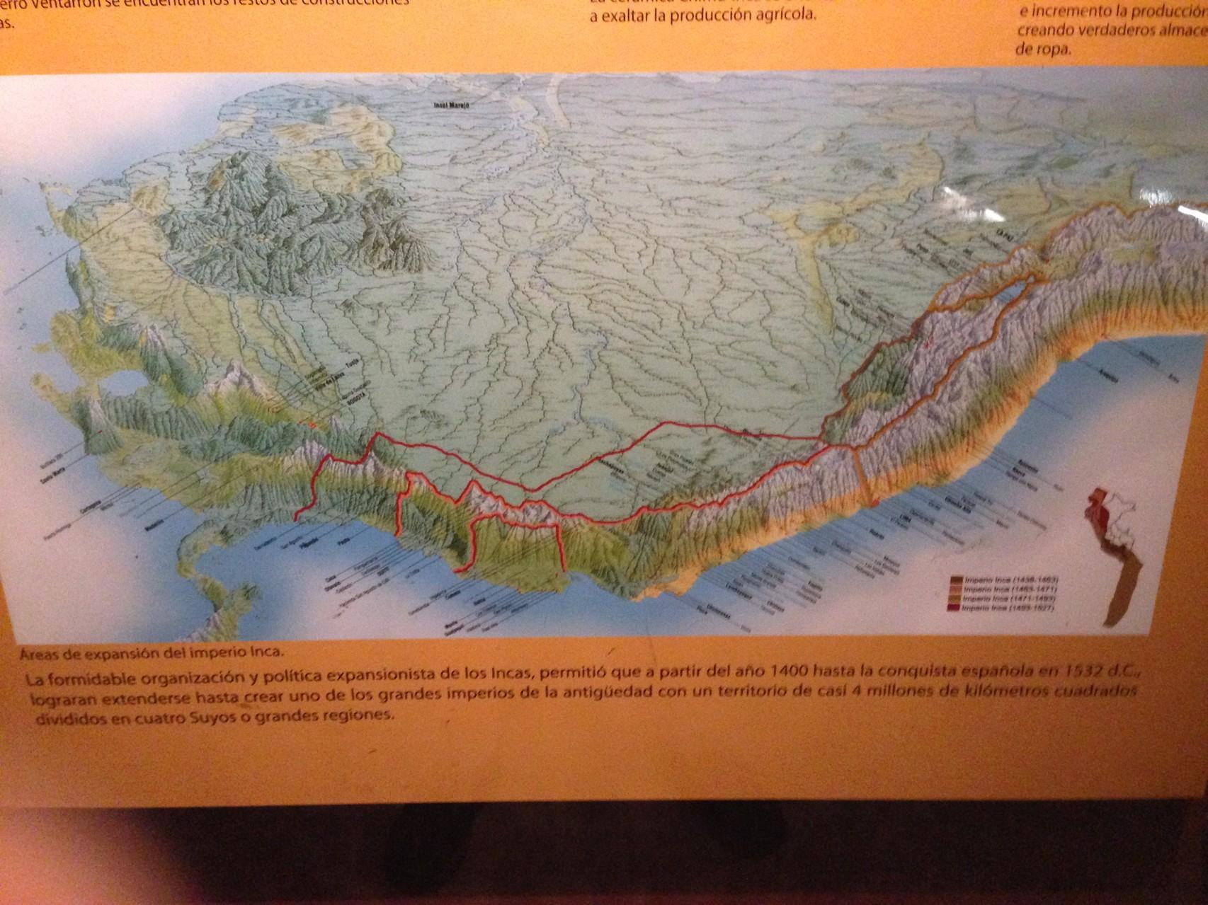 Die Ausbreitungsgebiete der Inkas zu verschiedenenen Epochen