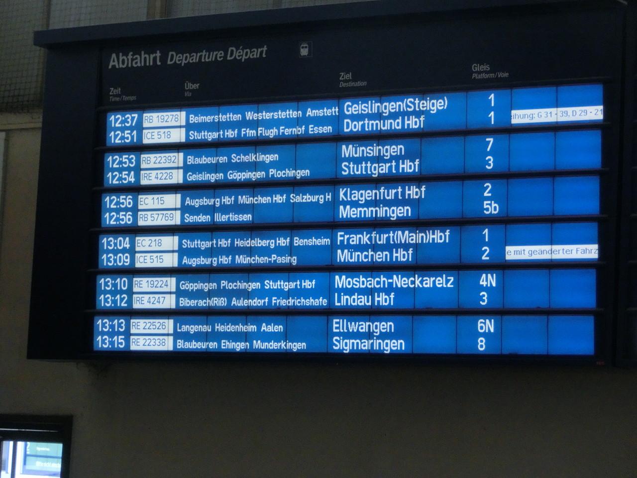 12.51 ab Ulm Hbf - Gleis 1