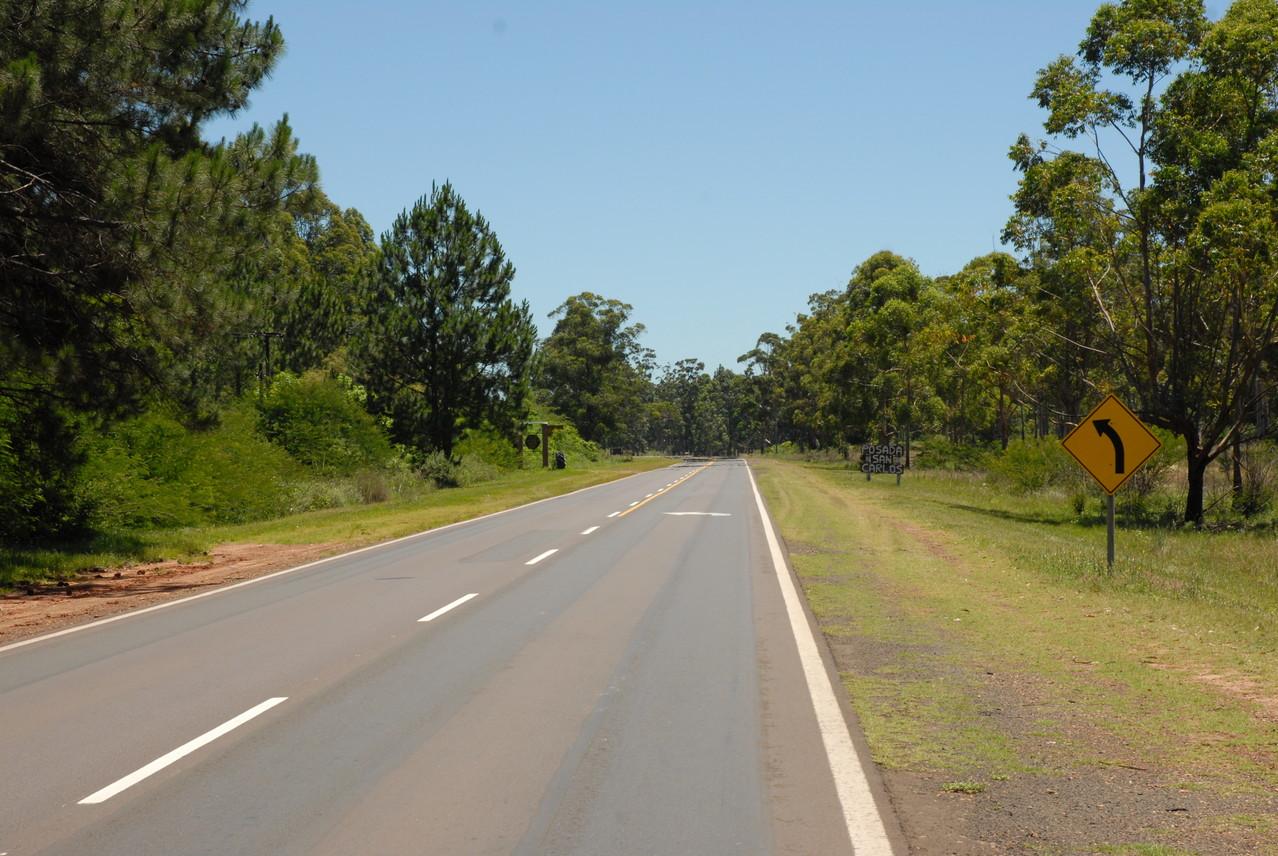 Gefährliche Kurve mit Schild und Straßenbemalung ... dann kommt ne läppische kleine Kurve ... ;-))