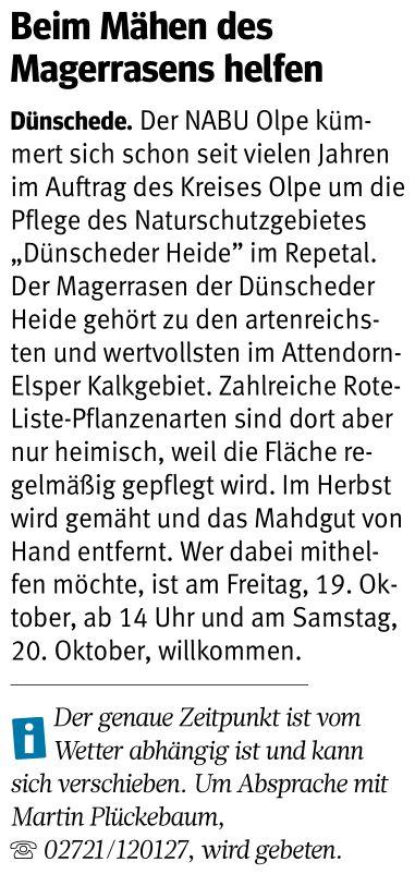 Westfalenpost, Dünscheder Heide, 16.10.2018