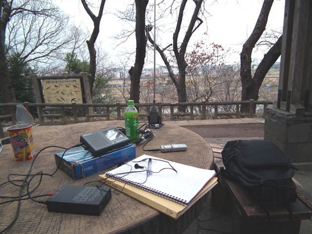 多摩川を見下ろす見晴らし台でワッチ
