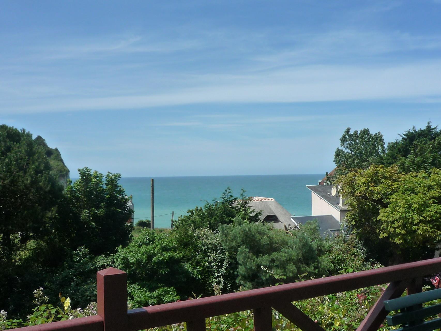 Vue sur la mer et les arbres depuis la terrasse